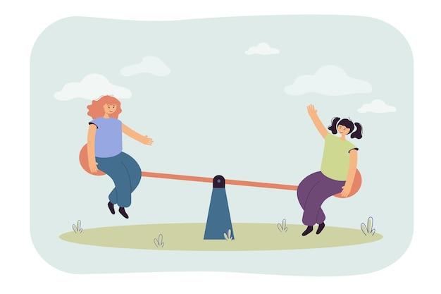 Ilustração de crianças andando de gangorra
