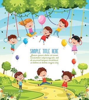 Ilustração de crianças balançando