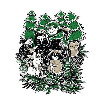 Ilustração de crianças brincando com animais