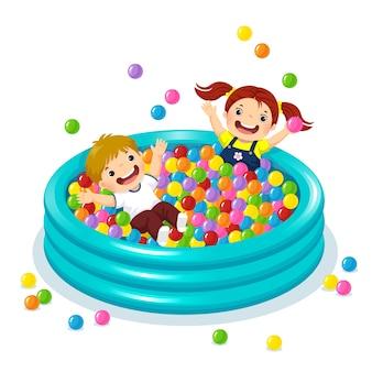Ilustração de crianças brincando com bolas coloridas na piscina