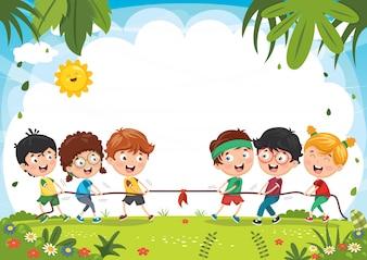 Ilustração de crianças brincando de puxar a corda