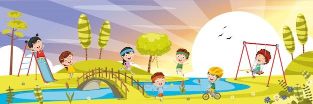 Ilustração de crianças brincando lá fora