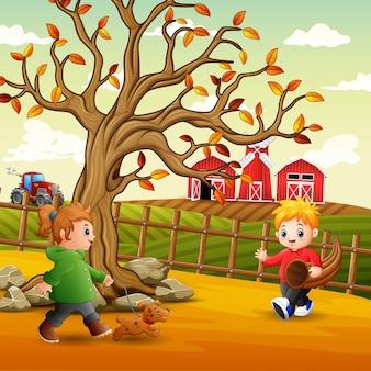 Ilustração de crianças brincando na fazenda