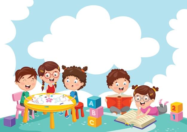 Ilustração de crianças brincando