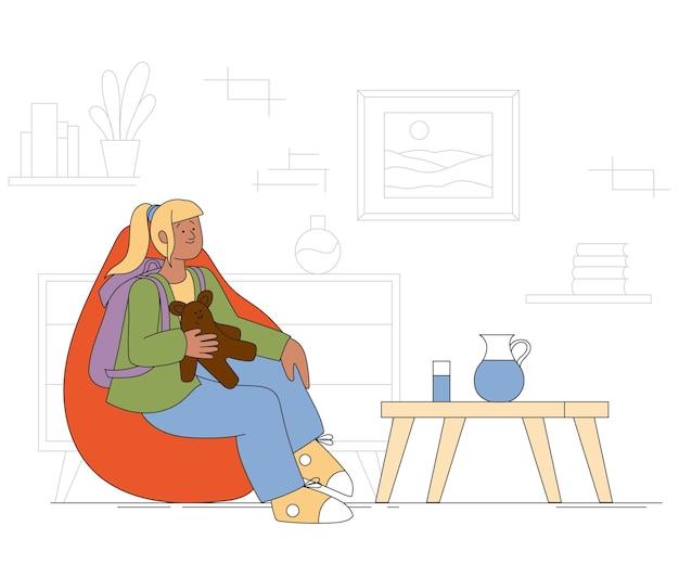 Ilustração de crianças carregando uma menina mochila com uma mochila