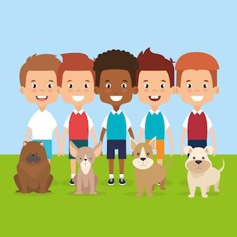 Ilustração de crianças com personagens de animais de estimação