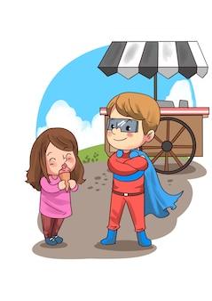 Ilustração de crianças comendo sorvete
