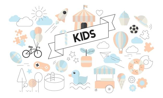 Ilustração, de, crianças, conceito