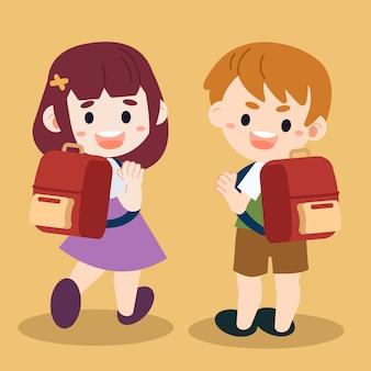 Ilustração de crianças de desenho animado de personagem indo para a escola.