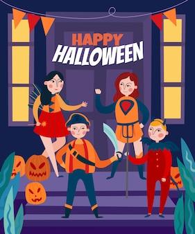 Ilustração de crianças de halloween