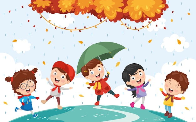 Ilustração de crianças de outono