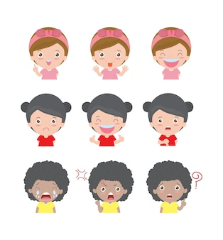 Ilustração de crianças de personagens de desenhos animados com emoções diferentes