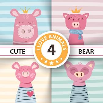Ilustração de crianças de porco inverno bonito