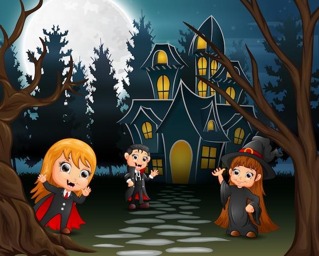 Ilustração, de, crianças, desgastar, traje halloween