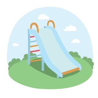 Ilustração de crianças deslizam no parque;