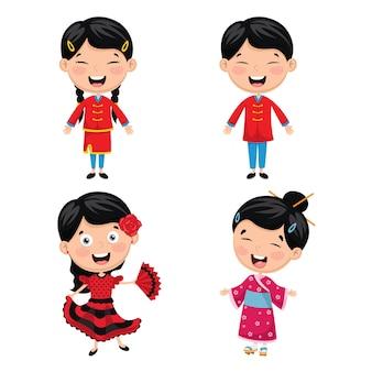 Ilustração de crianças do mundo