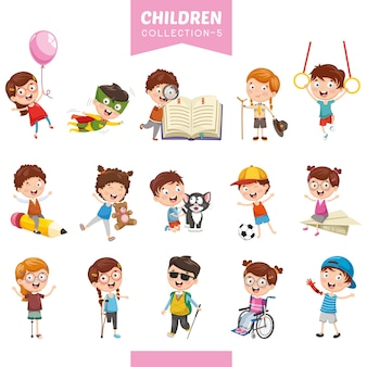 Ilustração de crianças dos desenhos animados