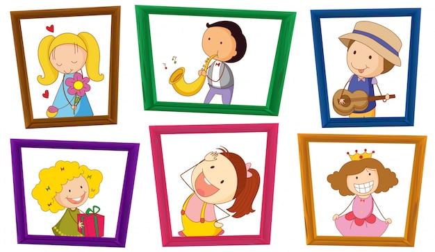 Ilustração de crianças em molduras de fotos