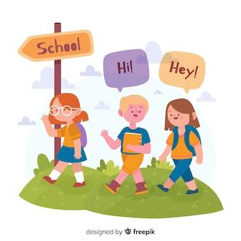 Ilustração de crianças em seu primeiro dia na escola