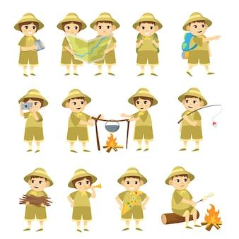 Ilustração de crianças escoteiras de desenho animado