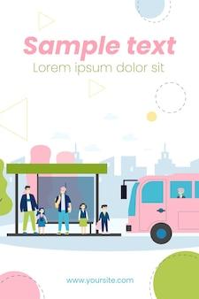 Ilustração de crianças esperando ônibus escolar