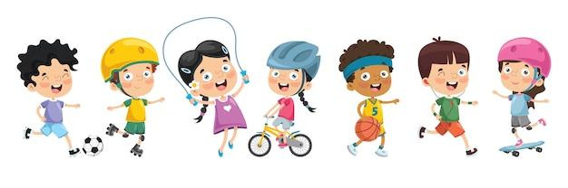 Ilustração de crianças fazendo esporte