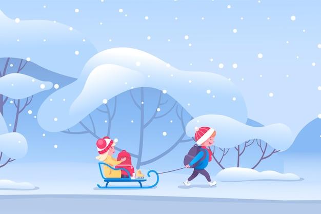Ilustração de crianças felizes andando de trenó