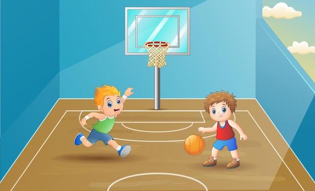 Ilustração de crianças jogando basquete na quadra