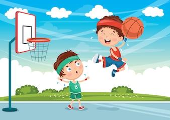 Ilustração de crianças jogando basquete