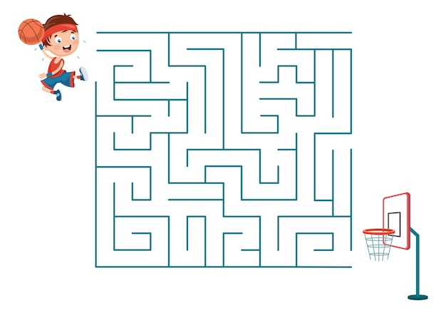 Ilustração de crianças jogando labirinto de basquete
