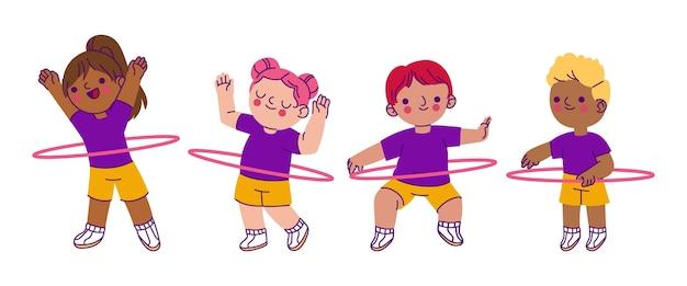 Ilustração de crianças na aula de educação física