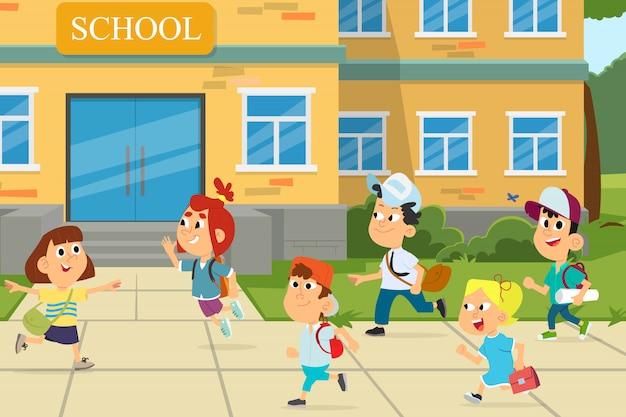 Ilustração de crianças na frente do prédio da escola