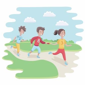 Ilustração de crianças participando de uma corrida de revezamento