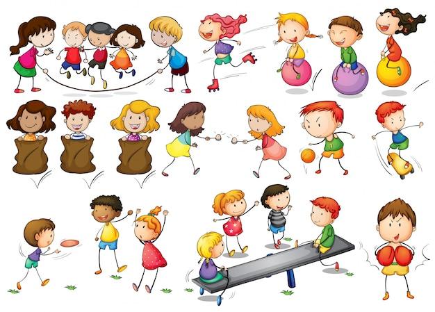 Ilustração de crianças que brincam e fazem atividades