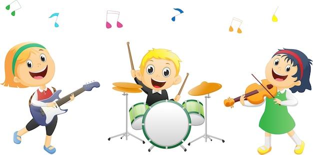 Ilustração de crianças tocando instrumento de música