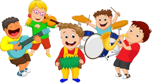 Ilustração, de, crianças, tocando, instrumento música