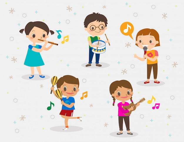 Ilustração de crianças tocando instrumentos musicais diferentes