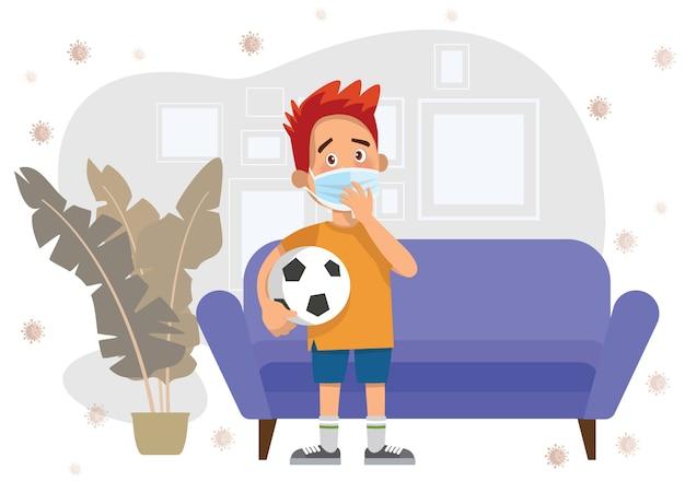 Ilustração de crianças usam uma máscara facial médica