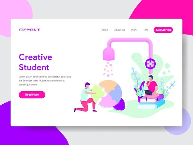 Ilustração de criatividade do aluno para páginas da web