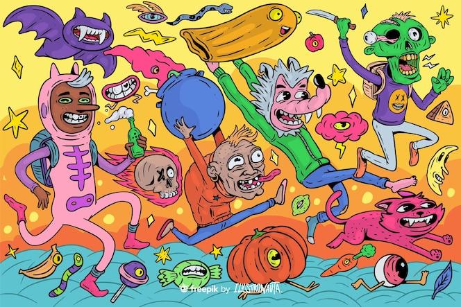 ilustração de criaturas assustadoras de halloween