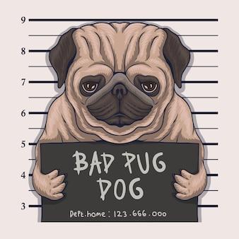 Ilustração de crime de cão pug ruim