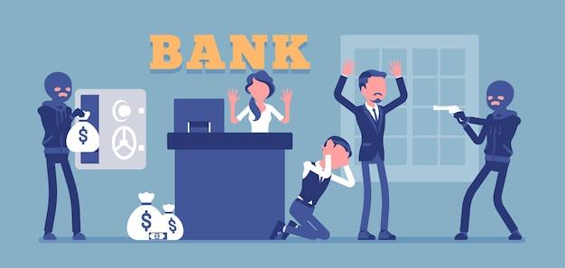 Ilustração de criminosos mascarados de assalto a banco