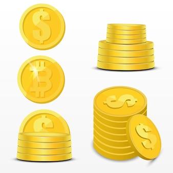 Ilustração de criptomoeda. conjunto de dinheiro digital