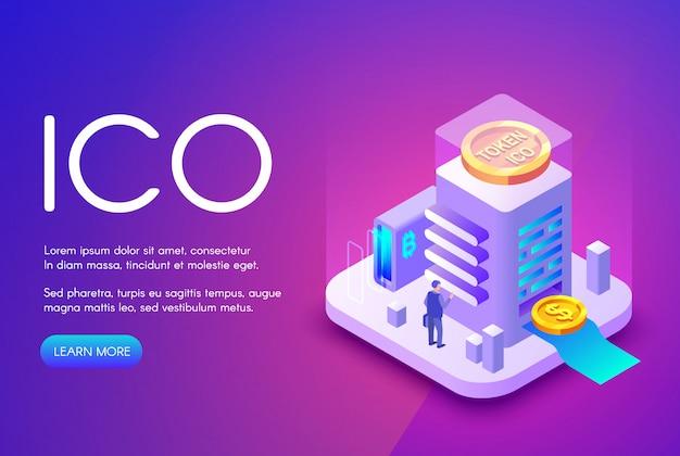 Ilustração de criptomoeda da oic de bitcoin e tokens para investimento em crowdfunding