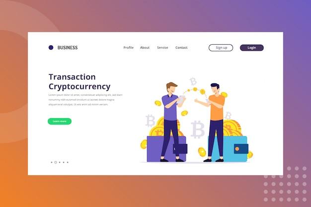 Ilustração de criptomoeda de transação para o conceito de criptomoeda na página de destino