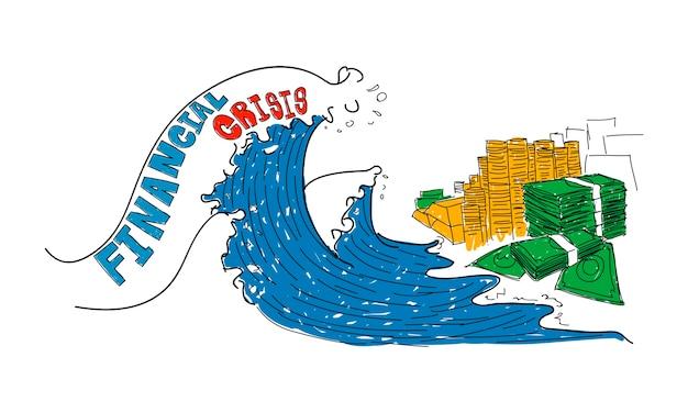 Ilustração, de, crise financeira