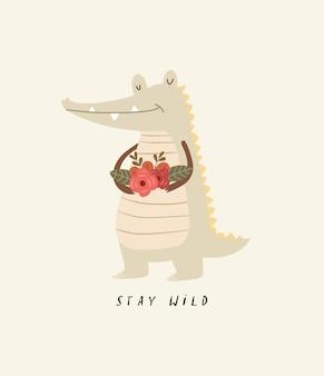 Ilustração de crocodilo fofa