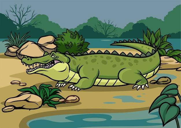 Ilustração de crocodilo na natureza