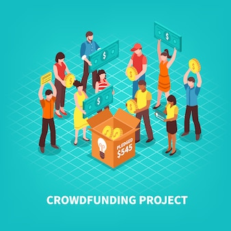 Ilustração de crowdfunding isométrica