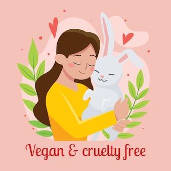 ilustração de crueldade desenhada à mão e vegana